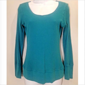 Decree Womens L Turquoise Thermal Long Sleeve Top